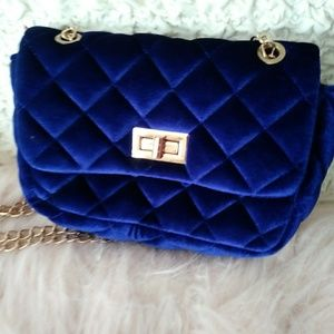 Handbags - Forever 21 Quilted Blue Velvet Minibag